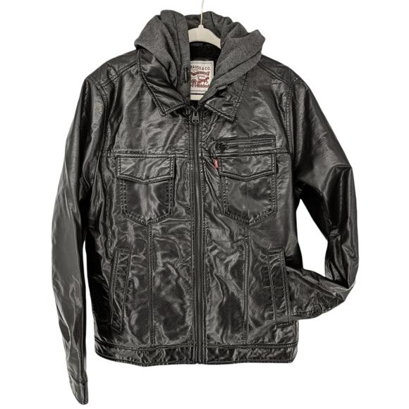 Levi's Levi Strauss Faux Leather Hooded Bomber Jacket Moto Style